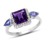 2.07 Carat Genuine Amethyst, Tanzanite and White Diamond 10K White Gold Ring