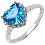 2.20 Carat Genuine White Diamond & Blue Topaz 10K White Gold Ring