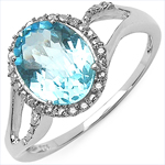 3.30 Carat Genuine White Diamond & Blue Topaz 10K White Gold Ring