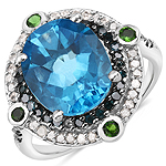 5.84 Carat Genuine Multi Stone .925 Sterling Silver Ring