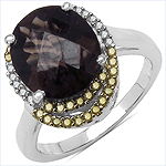 4.12 Carat Genuine Smoky Quartz and 0.28 ct.t.w Genuine Diamond Accents Sterling Silver Ring