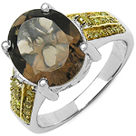 4.53 Carat Genuine Smoky Quartz and 0.27 ct.t.w Genuine Diamond Accents Sterling Silver Ring