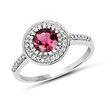 1.29 Carat Genuine Pink Tourmaline & White Diamond 10K White Gold Ring