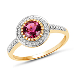1.29 Carat Genuine Pink Tourmaline & White Diamond 10K Yellow Gold Ring