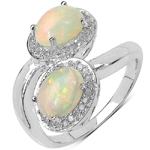 1.57 Carat Genuine Ethiopian Opal and 0.23 ct.t.w Genuine Diamond Accents Sterling Silver Ring
