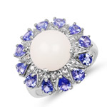 4.25 Carat Genuine Ethiopian Opal, Tanzanite and White Topaz .925 Sterling Silver Ring