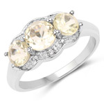 1.71 Carat Genuine Lemon Quartz and White Topaz .925 Sterling Silver Ring