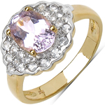 1.70 Carat Genuine Kunzite & White Cubic Zircon 10K Yellow Gold Ring