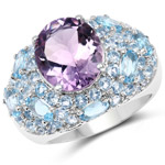 8.80 Carat Genuine Multi Stone .925 Sterling Silver Ring