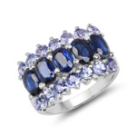 4.30 Carat Genuine Kyanite and Tanzanite .925 Sterling Silver Ring
