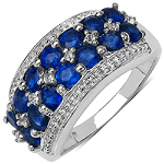 2.00 Carat Genuine Kyanite & White Topaz .925 Sterling Silver Ring