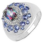 2.16 Carat Genuine Mystic Topaz & Tanzanite .925 Sterling Silver Ring