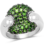 1.82 Carat Genuine Chrome Diopside .925 Sterling Silver Ring