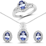 2.50 Carat Genuine Tanzanite and White Topaz .925 Sterling Silver Ring, Pendant & Earrings Set