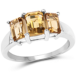 2.31 Carat Genuine Champagne Quartz .925 Sterling Silver Ring