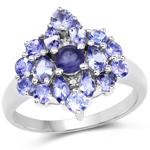 """1.59 Carat Genuine Iolite, Tanzanite and White Topaz .925 Sterling Silver Ring"""