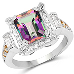 5.62 Carat Genuine Mystic Topaz, Citrine and White Topaz .925 Sterling Silver Ring