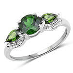 1.23 Carat Genuine Chrome Diopside .925 Sterling Silver Ring