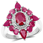 3.04 Carat Glass Filled Ruby .925 Sterling Silver Ring