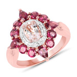 14K Rose Gold Plated 2.82 Carat Genuine Morganite and Rhodolite .925 Sterling Silver Ring