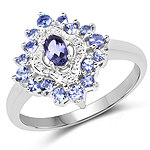 0.80 Carat Genuine Iolite and Tanzanite .925 Sterling Silver Ring