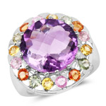 10.16 Carat Genuine Multi Stone .925 Sterling Silver Ring