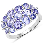 2.76 Carat Genuine Tanzanite .925 Sterling Silver Ring