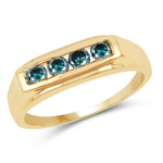 14K Yellow Gold Plated 0.48 Carat Genuine Blue Diamond .925 Sterling Silver Ring