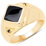 14K Yellow Gold Plated 2.03 Carat Genuine Black Onyx and Black Diamond .925 Sterling Silver Ring