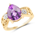 14K Yellow Gold Plated 1.63 Carat Genuine Amethyst and White Diamond .925 Sterling Silver Ring