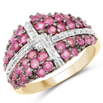 14K Yellow Gold Plated 1.70 Carat Genuine Ruby .925 Sterling Silver Ring