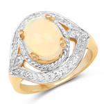 14K Yellow Gold Plated 1.88 Carat Genuine Ethiopian Opal and White Topaz .925 Sterling Silver Ring