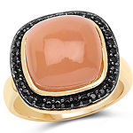 14K Yellow Gold Plated 7.50 ct. t.w. Peach Moonstone and Black Spinel Ring in Sterling Silver