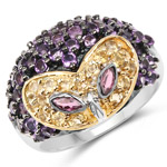 2.10 Carat Genuine Rhodolite, Citrine and Amethyst .925 Sterling Silver Ring
