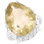 13.72 Carat Genuine Lemon Quartz .925 Sterling Silver Ring