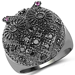 0.72 Carat Black Spinel and Created Ruby .925 Sterling Silver Ring