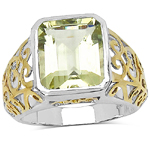 Two Tone Plated 5.60 Carat Genuine Lemon Quartz .925 Sterling Silver Ring