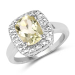 1.90 Carat Genuine Lemon Quartz .925 Sterling Silver Ring