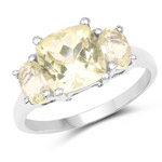 2.68 Carat Genuine Lemon Quartz .925 Sterling Silver Ring