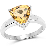 2.25 Carat Genuine Champagne Quartz .925 Sterling Silver Ring