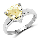 2.25 Carat Genuine Lemon Quartz .925 Sterling Silver Ring