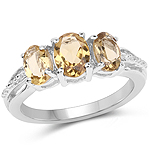 1.66 Carat Genuine Champagne Quartz .925 Sterling Silver Ring