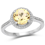 1.91 Carat Genuine Champagne Quartz .925 Sterling Silver Ring