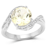 2.50 Carat Genuine Lemon Topaz and White Topaz .925 Sterling Silver Ring