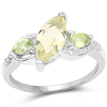 1.20 Carat Genuine Lemon Topaz and Peridot .925 Sterling Silver Ring