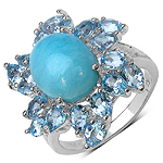 6.24 Carat Genuine Larimar & Blue Topaz .925 Sterling Silver Ring