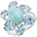 6.94 Carat Genuine Larimar and Blue Topaz .925 Sterling Silver Ring