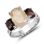 5.75 Carat Genuine Golden Rutile & Smoky Quartz .925 Sterling Silver Ring