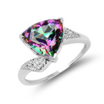 3.50 Carat Genuine Quartz Mystic .925 Sterling Silver Ring
