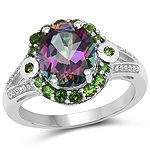 3.92 Carat Genuine Mystic Quartz& Chrome Diopside .925 Sterling Silver Ring